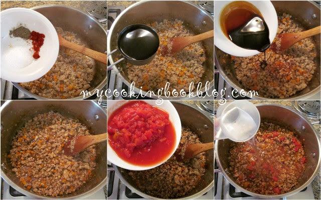 Спагети и сос от кайма, червено вино, пушен червен пипер, петмез и песто