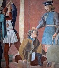 Piero della Francesca, Le Storie della Vera Croce, Tortura dell'ebreo (particolare), Basilica di San Francesco, Arezzo