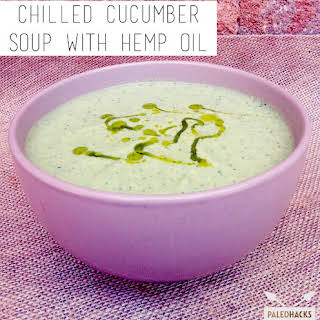 Chilled Cucumber Soup with Hemp Oil.