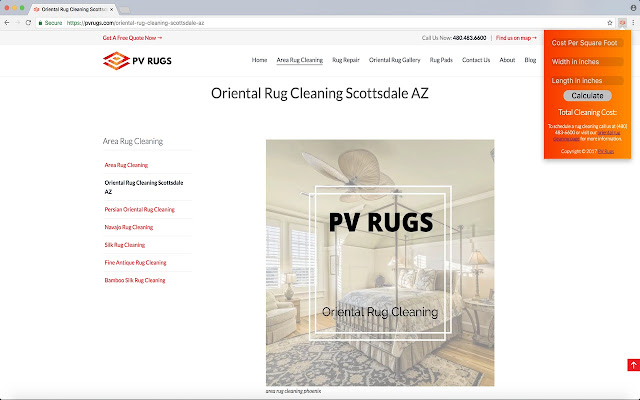 Oriental Rug Cleaning Calculator
