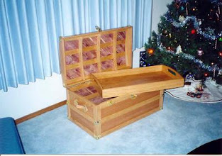 Photo: Steamer trunk for my son, oak with cedar lining.