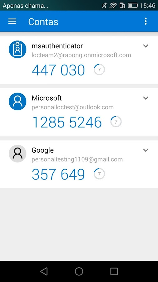 Microsoft Authenticator: captura de tela