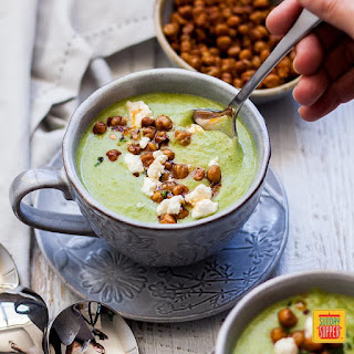 Easy Broccoli Soup with Spicy Roasted Chick Peas.