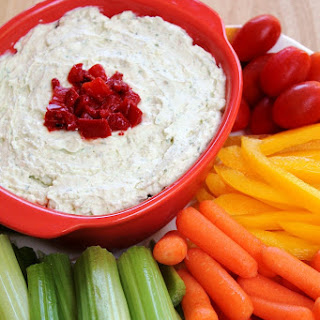 Pesto-Feta Dip with Roasted Red Pepper