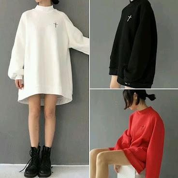 A型寬鬆十字架衞衣**白色/黑色/紅色**