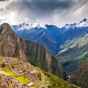 Machu Picchu – Peru by  pemavis Photography - Landscapes Travel ( famous locations, clouds, southamerica, mountains, dramatic mood, peru, machu picchu, travel, landscape )