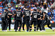 Trent Boult of New Zealand celebrates bowling Virat Kohli, Indian Captain lbw after a wicket review during resumption of the Semi-Final match of the ICC Cricket World Cup 2019 between India and New Zealand after weather affected play at Old Trafford on July 10, 2019 in Manchester, England.