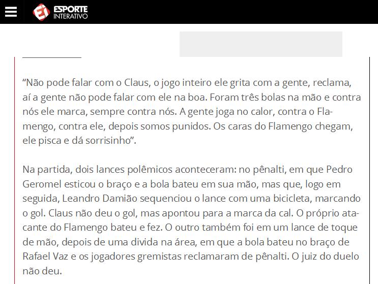 Flamengo vence o Grêmio com ajuda do juiz