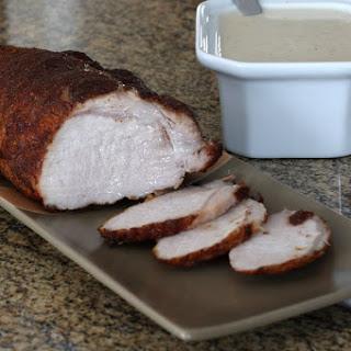 Spiced Pork Loin Roast With Sour Cream Gravy.