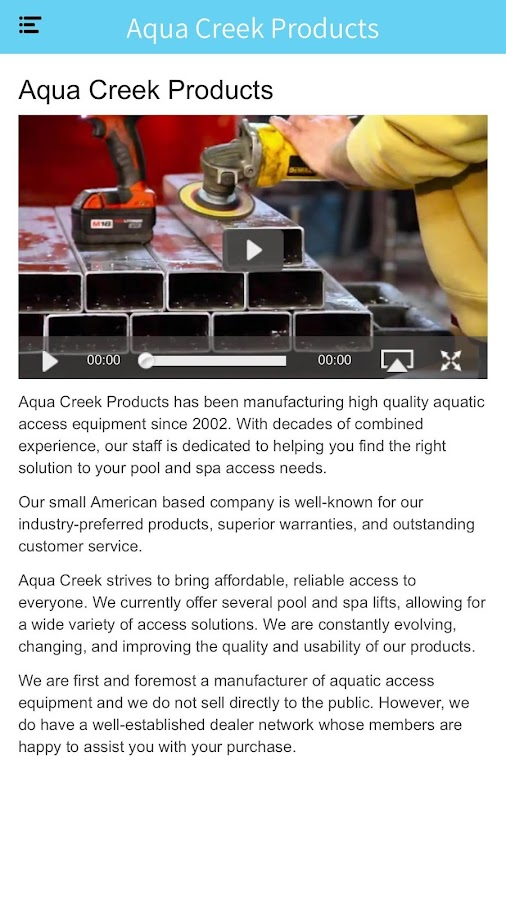 Aqua Creek Products- screenshot