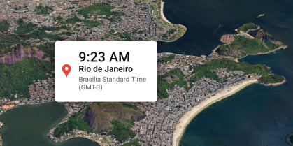Current time for Rio de Jeneiro on a map