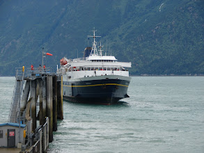 Photo: The Alaska Ferry arriving in Skagway.