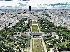 Photo: Paris View southeast from the Eiffel Tower, down the Champ de Mars named after the Campus Martius (Mars Field) in Rome, a tribute to the Roman god of war, with the Tour Montparnasse (Montparnasse Tower) in the distance. #landscapephotography  curated by +Carra Riley +Bill Wood  & +Margaret Tompkins. #paris    #urbanexploration   #travelphotography