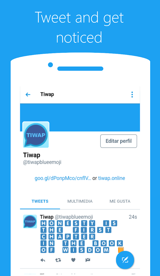 Tiwap Blue Emoji Text- screenshot
