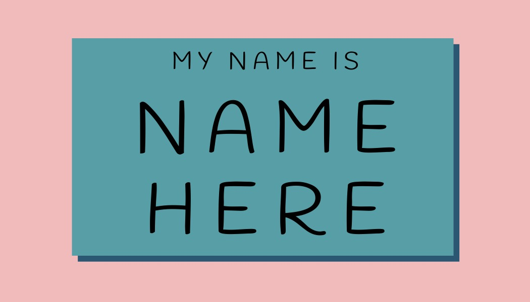 name tag template with drop shadow