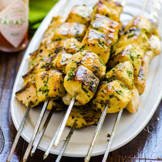 Grilled Spicy Cilantro Fish Kebabs Recipe