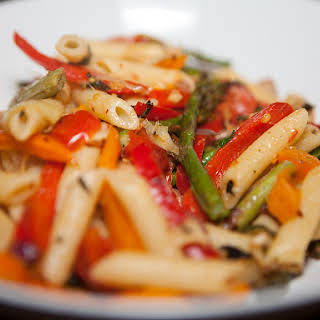 Vegan Oven Roasted Vegetables with Pasta.