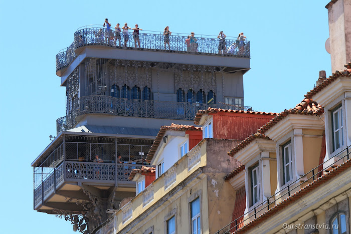 Вид на смотровую площадку лифта Санта-Жушта, Лиссабон