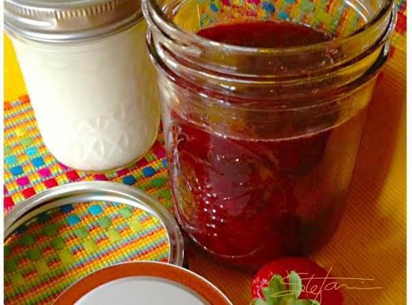 Homemade Strawberry Jam With Madzoon (yogurt) On The Side
