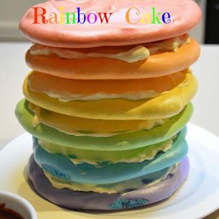Rainbow Meringue Cake