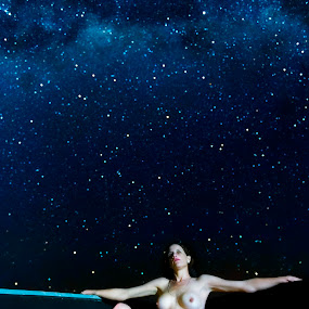 Star Gazing  by Pierre Van Der Schyff - Nudes & Boudoir Artistic Nude ( night photography, stars, night, stargazer, boat, slow shutter, milky way, nightscape,  )