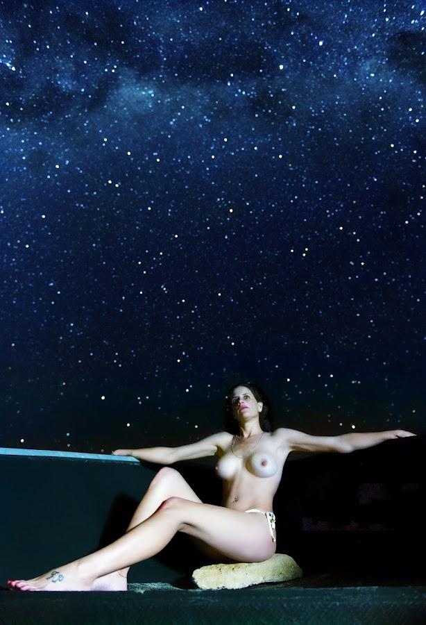 Star Gazing  by Pierre Van Der Schyff - Nudes & Boudoir Artistic Nude ( night photography, stars, night, stargazer, boat, slow shutter, milky way, nightscape,  )