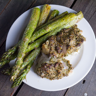 Pesto Encrusted Tilefish Grilled on a Maple Plank.