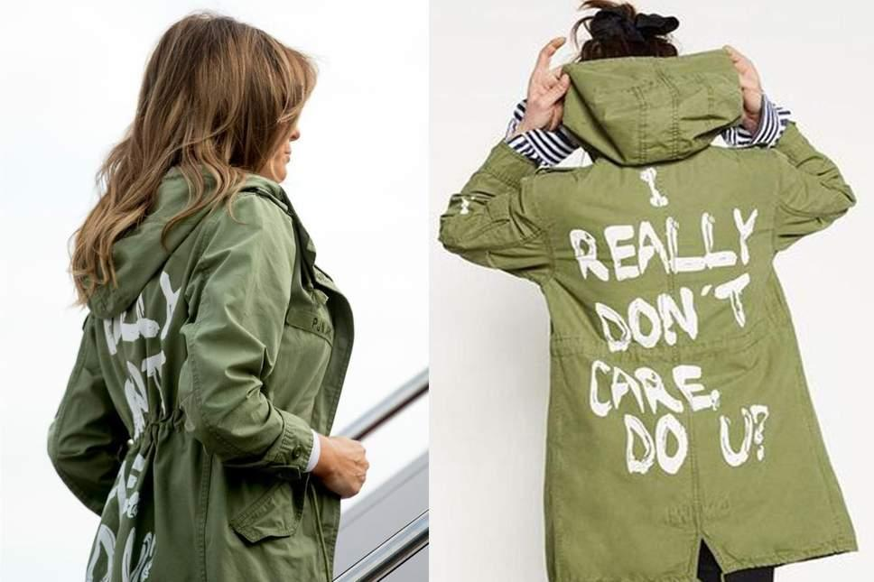 Description: Mrs Trump, left, wore the jacket, right, during a trip to a detention centre