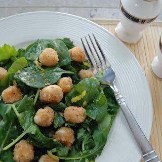 Easy Breaded Scallops over Salad with Lemon Vinaigrette.