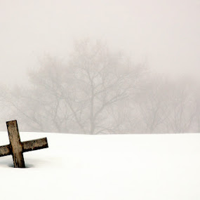 After All Is Said And Done by Vickie Barnhill - Landscapes Weather ( religion, winter, snow, religious, cross )