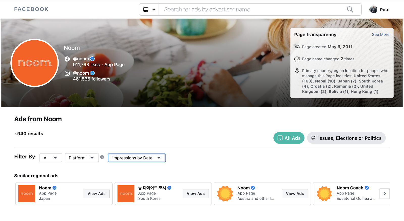 Noom's facebook ad spend and strategy