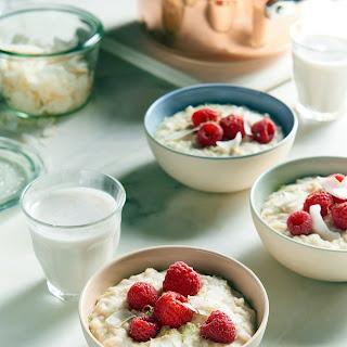 Lime Coconut Rice Porridge with Raspberries.
