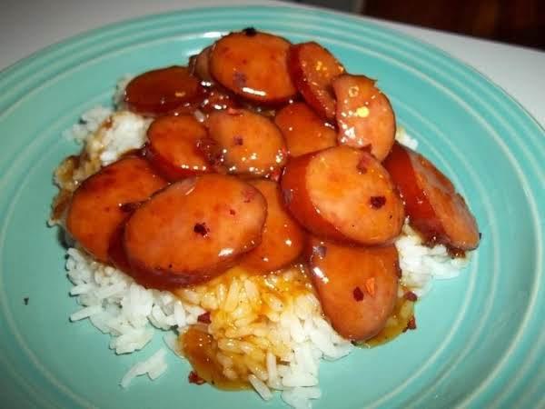 ~ Simply Glazed Kielbasa Over Rice ~