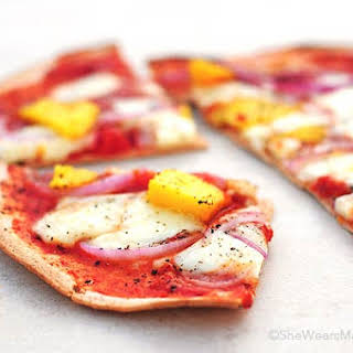 Brie, Red Onion, and Mango Pizza.