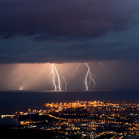 Lightning in front of the city by Matic Cankar - Landscapes Weather ( thunder, lightning, beautiful, summer, night, storm, landscape, italy, city )