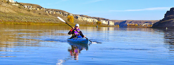 Photo: Kelli on Friday morning - just downriver from Eagle Creek