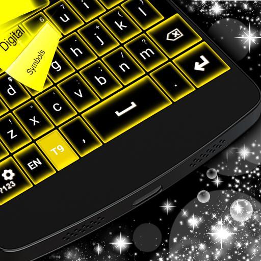 个人化の黄色のネオンキーボードGO LOGO-記事Game