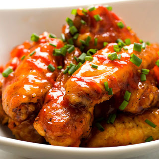 Peach Sriracha Chicken Wings.