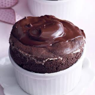 Chocolate Soufflé with Hot Fudge Sauce.