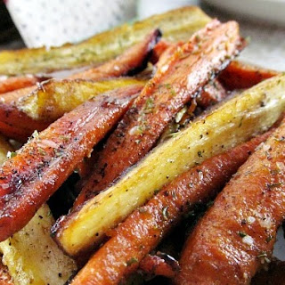 Honey and Balsamic Glazed Carrots and Parsnips.