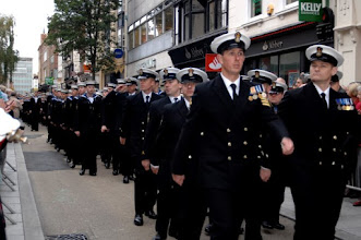 Photo: HMS Exeter's Ships company exercised the Freedom of the City by parading through Exeter.  CINCFLEET and the Lord Mayor of Exeter were also in attendance and the Commanding Officer of HMS Exeter presented the Lord Mayor with a plaque.  This was followed by a service in Exeter cathedral and on completion a small function at the White Ensign club, where there were numerous other small presentations from the Ships Company and 'Up Spirits'. (Photographed by LA (PHOT) Jenny Lodge). *** Local Caption *** Attended by CINCFLEET - Admiral Sir Mark Stanhope KCB OBE
