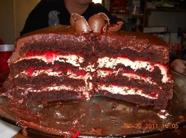 Top with chocolate covered cherries, you can put them on whole or cut in...
