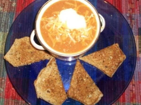 White Bean Soup And Toast. This Is Great With Some Shredded Cheese And Sour Cream On The Top!!