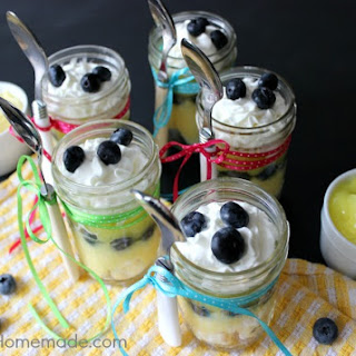 Lemon Blueberry Angel Food Cake in a Jar.