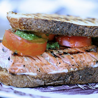 Grilled Salmon Sandwiches with Three Herb Pesto