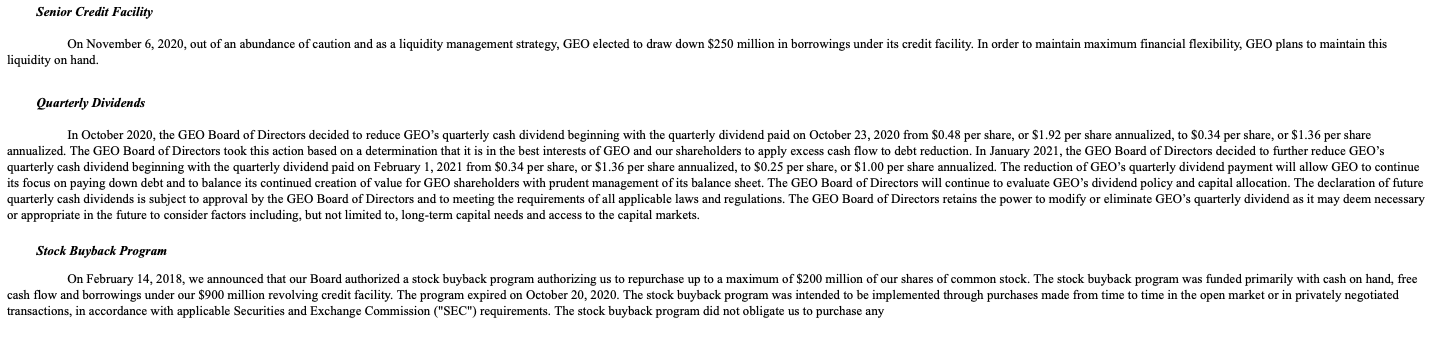 Geo Group stock dividends guidance 2021