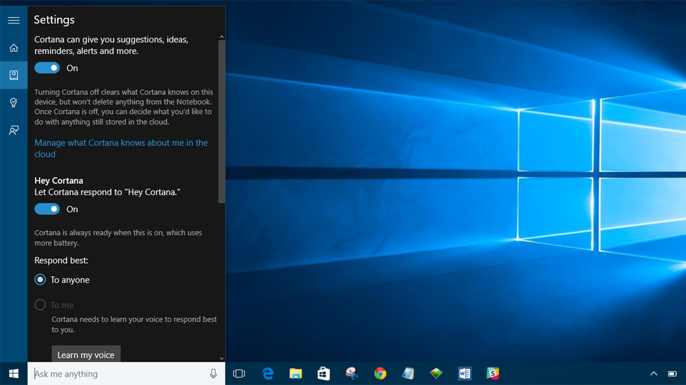 How to get cortana to respond to hey cortana in windows 10