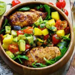 Chicken Salad with Mango Salsa.