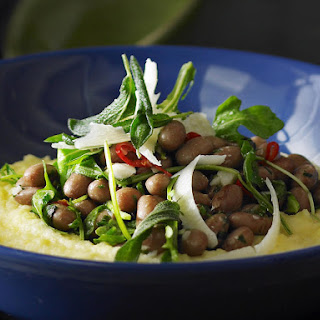Borlotti Beans and Rocket with Creamy Polenta