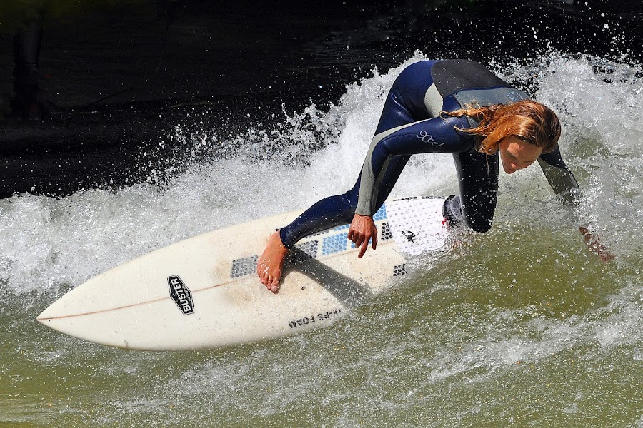 Touching The Water ! by Marco Bertamé - Sports & Fitness Surfing ( water, splash, surfing, speed, woman, drop, waterdrops,  )